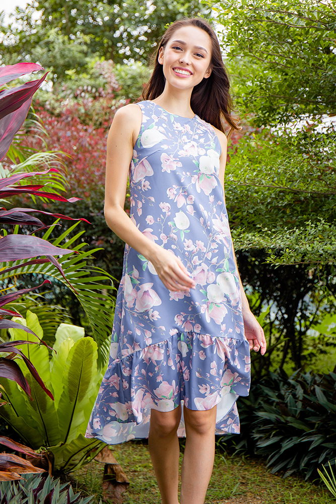 Anemone High-Low Hem Floral Dress (Periwinkle Blue)