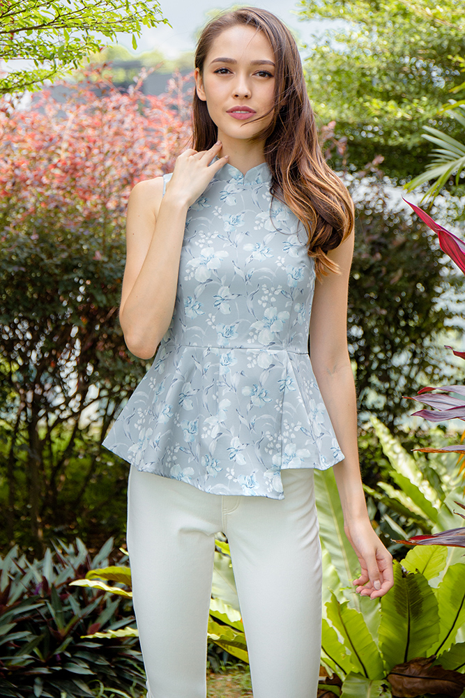 Pursuit of Happiness Cheongsam Top W Fabric Mask (Silver Moon)
