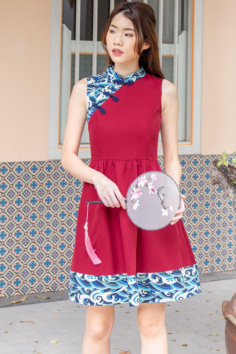 Waves of Kanagawa Cheongsam Dress W Fabric Mask (Wine)