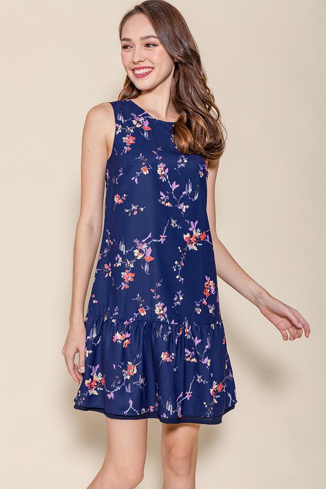 Clementine Reversible Dropwaist Dress (Navy Floral/Navy)