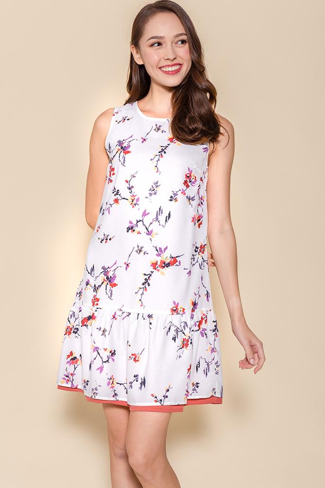 Clementine Reversible Dropwaist Dress (White Floral/Tea Rose)