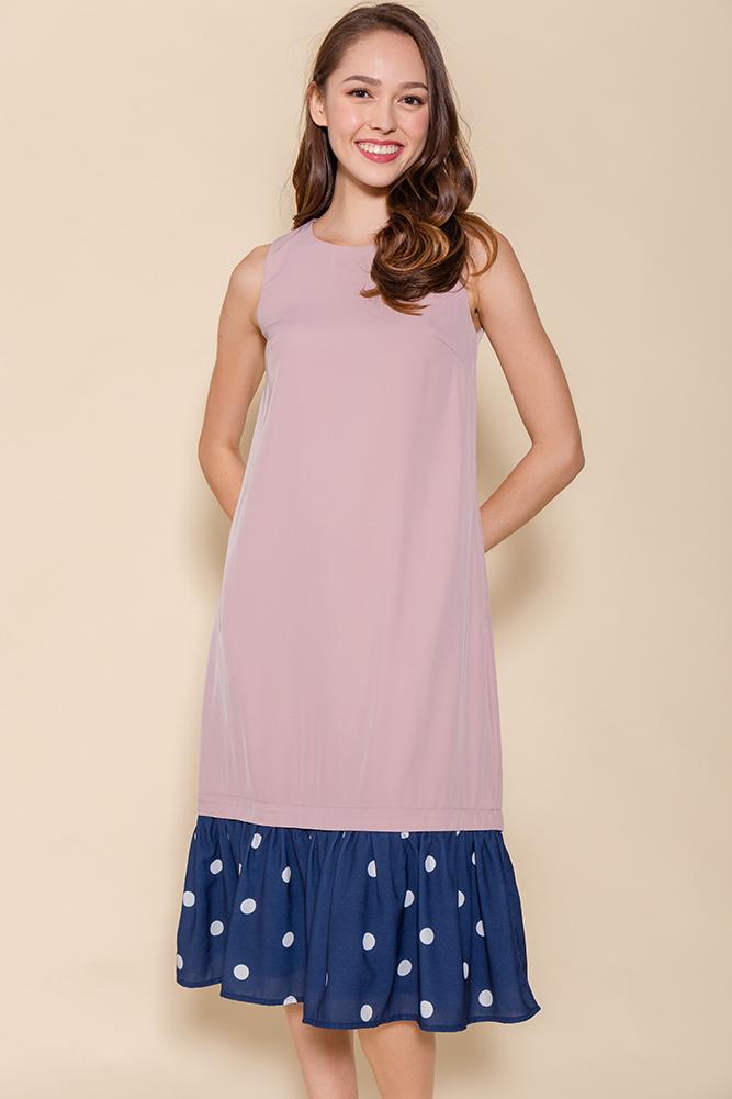 Miss Poppins Dress W Removable Hem (Pink)