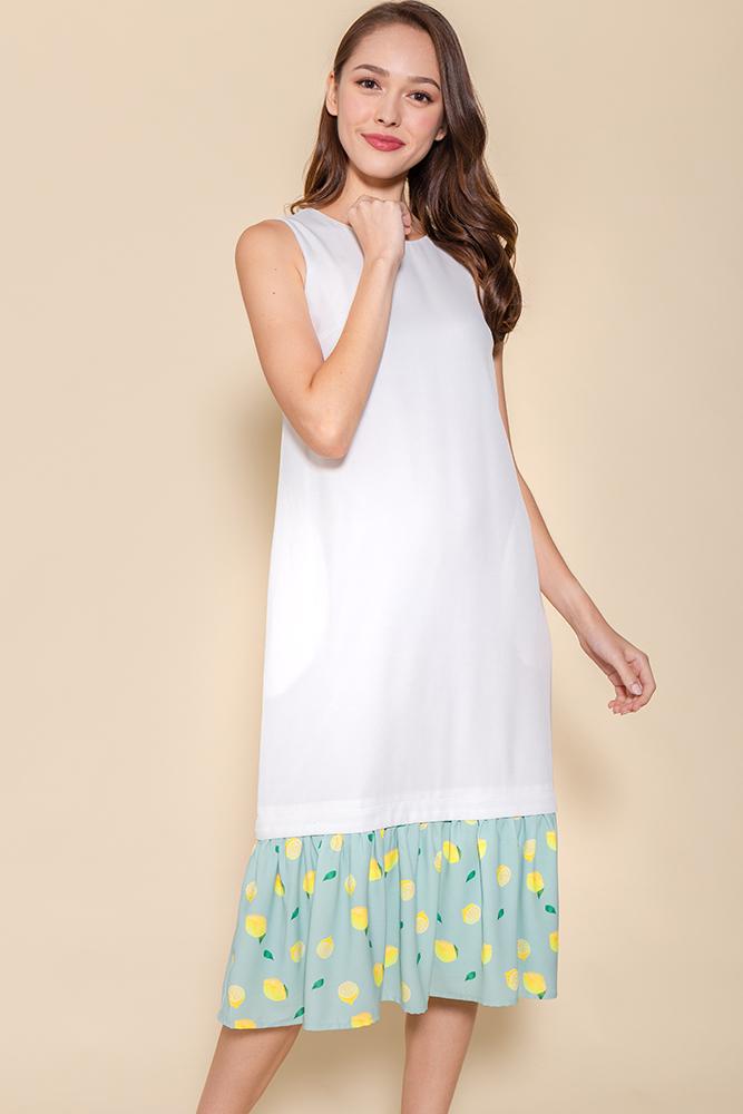 Miss Poppins Dress W Removable Hem (White)