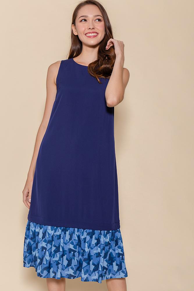 Miss Poppins Dress W Removable Hem (Navy)
