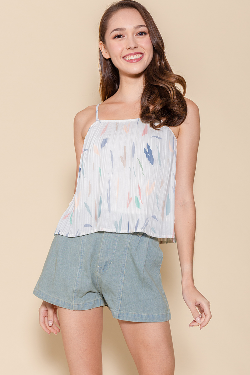 Tessa Pleated Cami Top (White Abstract)