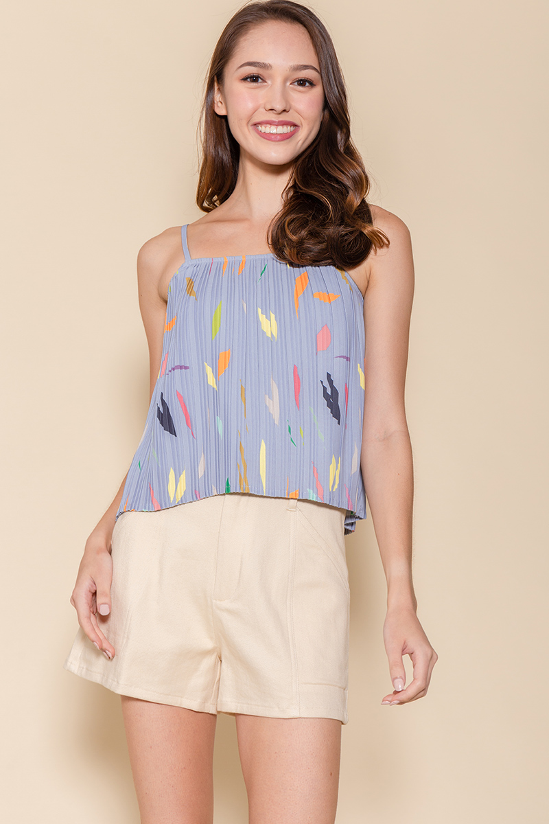 Tessa Pleated Cami Top (Periwinkle Blue Abstract)