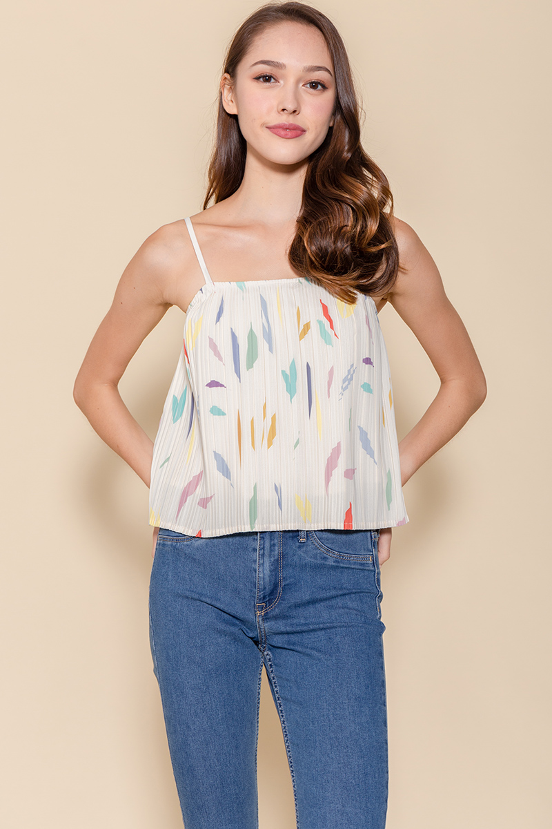 Tessa Pleated Cami Top (Cream Abstract)