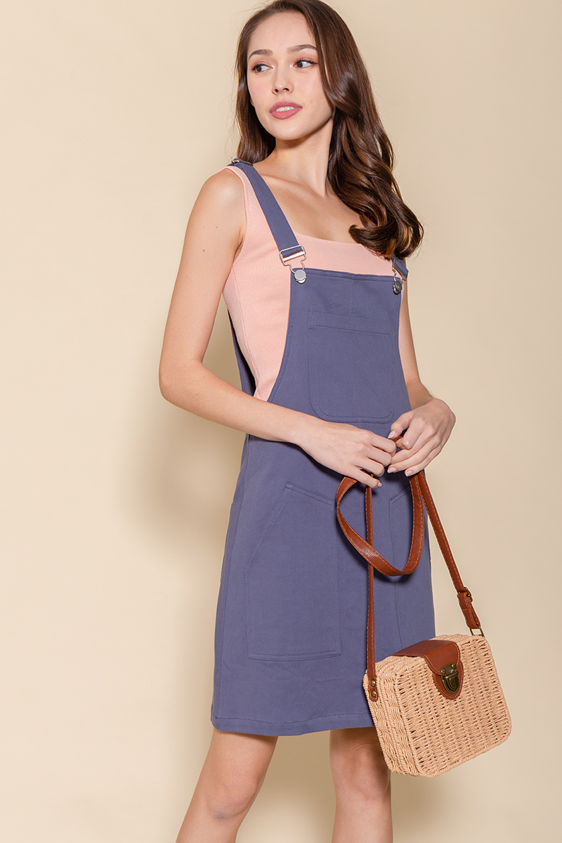 The Weekender Dungaree Dress (Ash Blue)