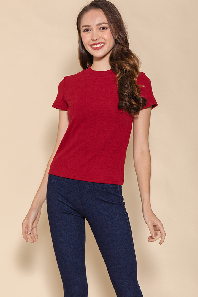 Bexley Basic Ribbed Top (Red)