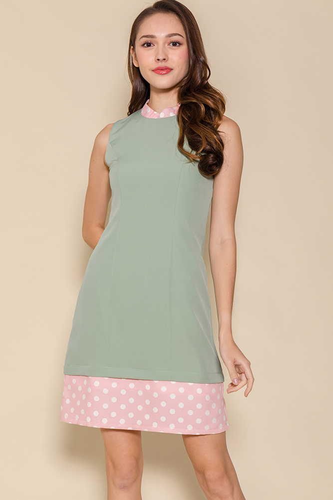 The Perfect Spotty Cheongsam Romper W Fabric Mask (Sage)
