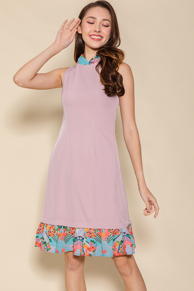 Oriental Charm Cheongsam Flounce Dress W Fabric Mask (Pink)