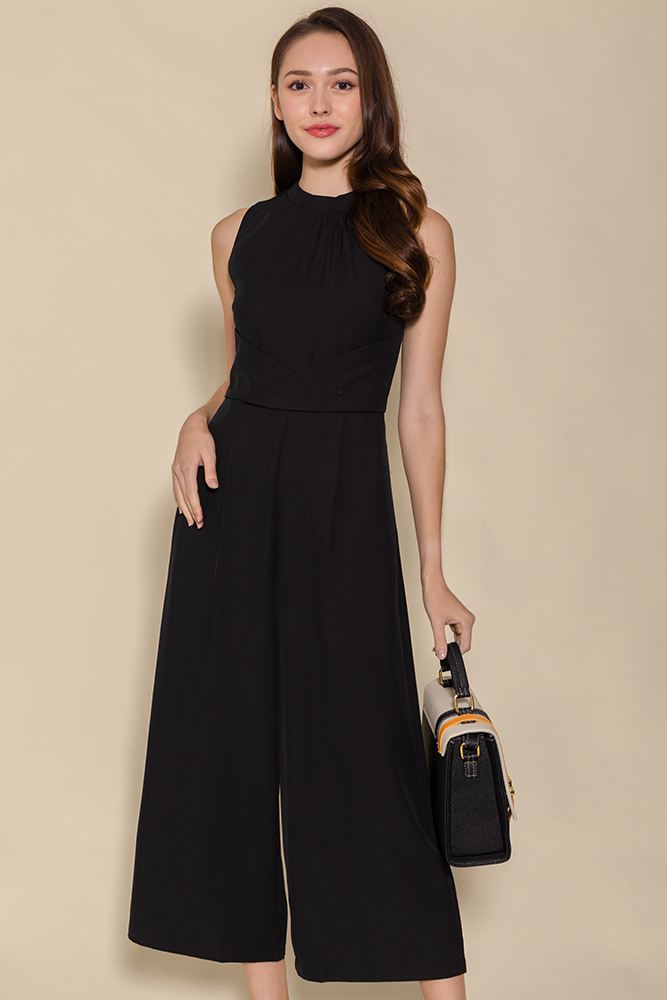 Minerva Cross Wrap Jumpsuit (Black)