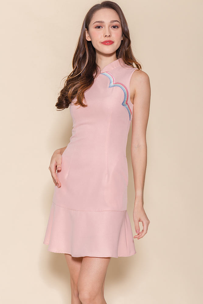 Over The Rainbow Embroidery Flounce Dress (Pink)