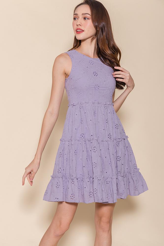 Little Notting Hill Eyelet Swing Dress (Dusty Lilac)