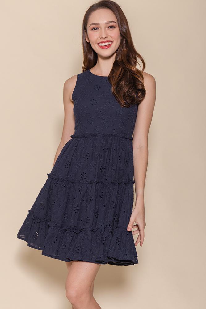 Little Notting Hill Eyelet Swing Dress (Navy)