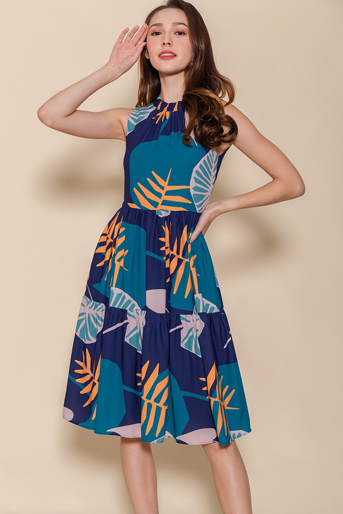 Mira Faraday Tiered Swing Dress (Navy Abstract)