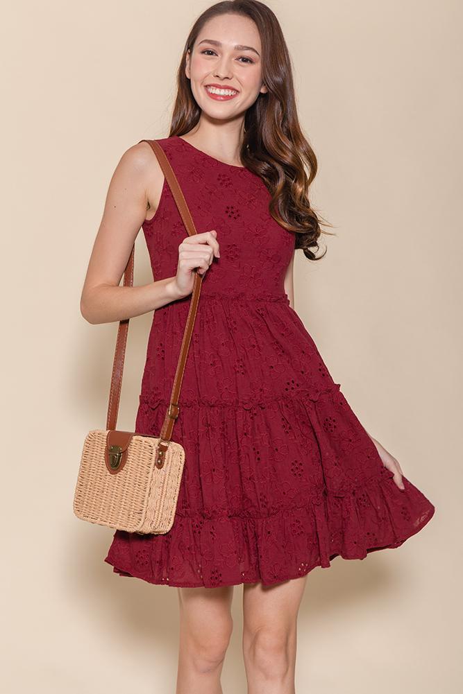 Little Notting Hill Eyelet Swing Dress (Maroon)