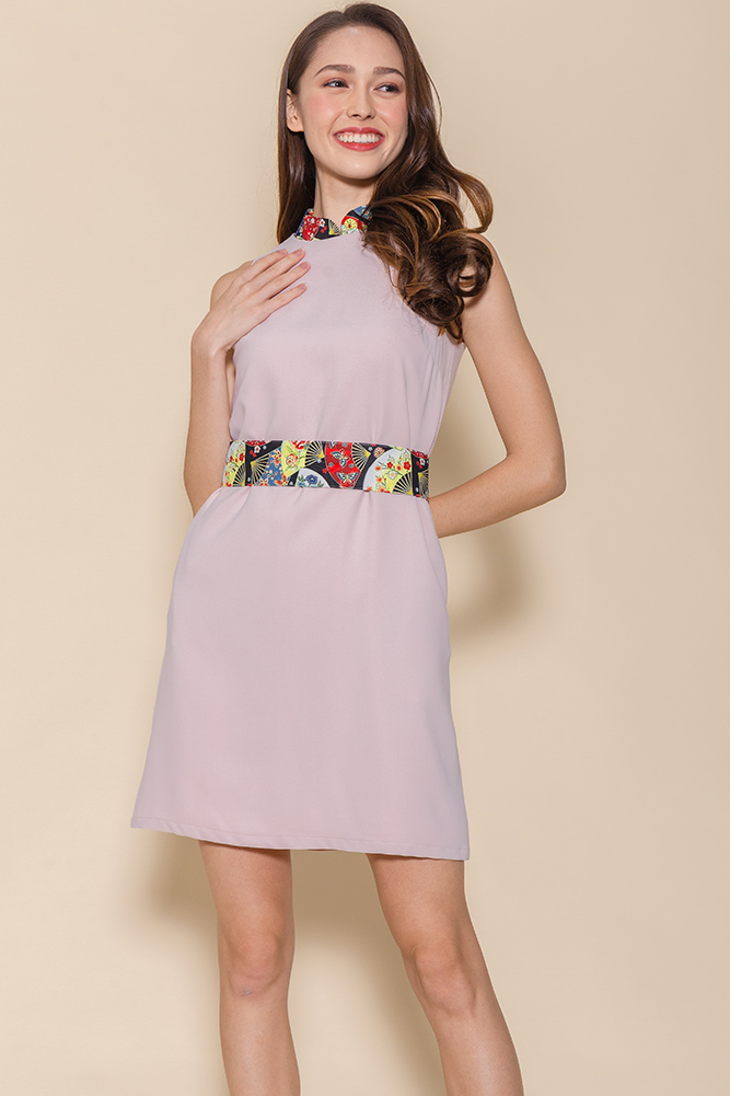Sensu Cheongsam Dress W Fabric Mask (Pink)