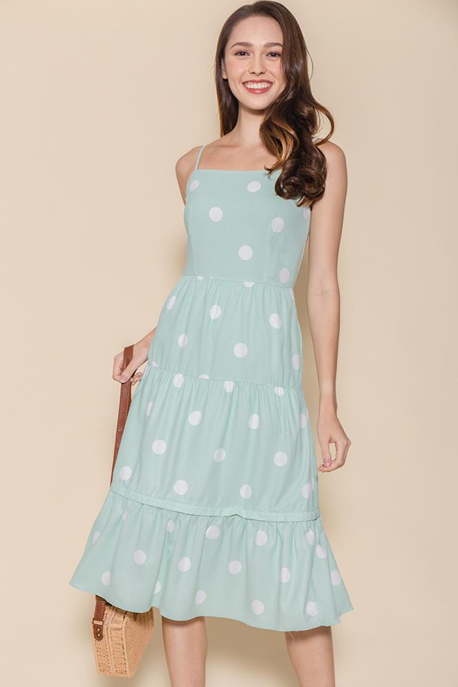 Miss Sunshine Tiered Midi Dress W Removable Hem (Mint Polkadots)