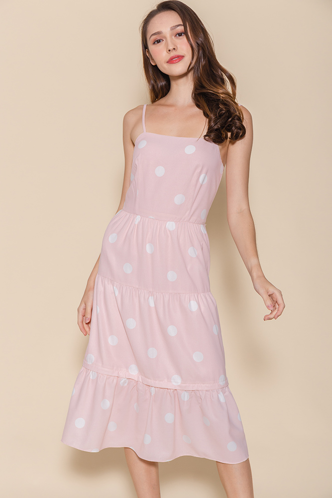 Miss Sunshine Tiered Midi Dress W Removable Hem (Pink Polkadots)