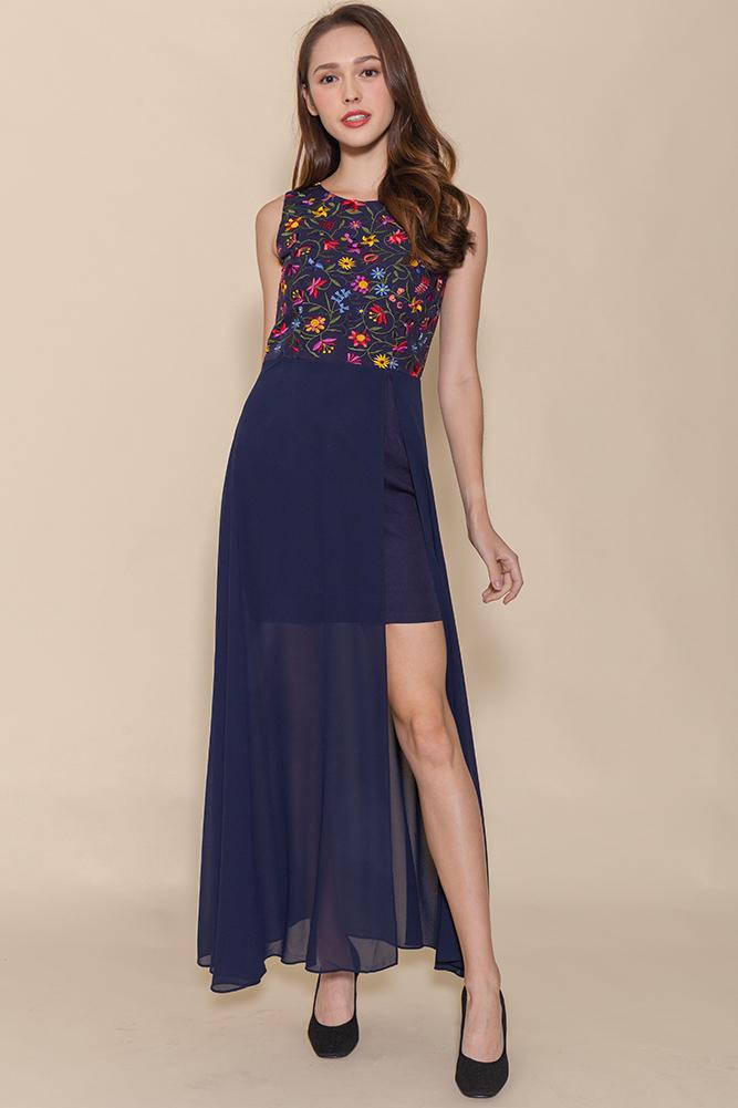 Anastasia Embroidery Maxi Dress (Navy)