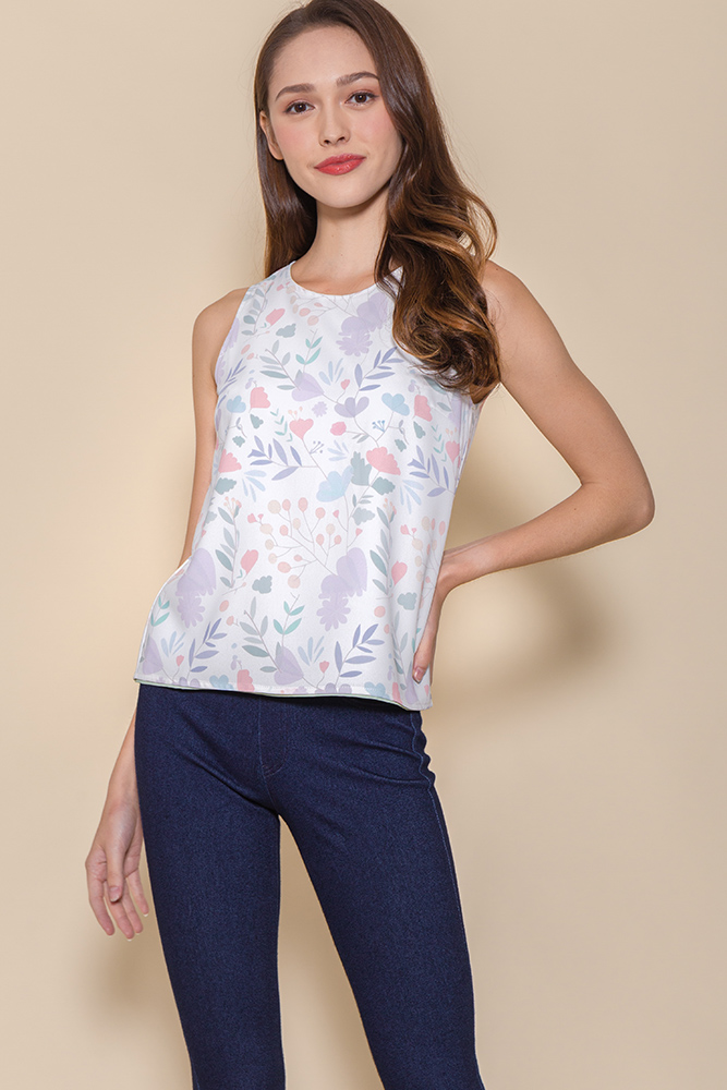 Binker Bell's Magical Flowers Reversible Tank Top (White Floral/Sage Polkadots)