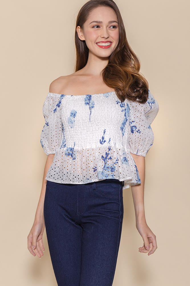 Miss Congeniality Eyelet Smock Top (White/Blue Floral)
