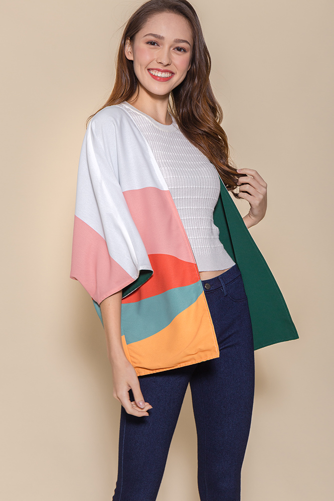 Panorama Reversible Kimono Jacket (White/Forest Green)