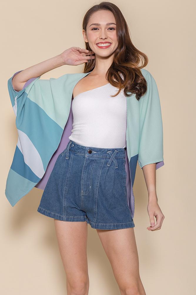Panorama Reversible Kimono Jacket (Spring Mint/Lavender)