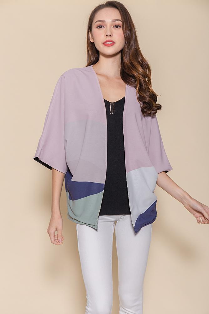 Panorama Reversible Kimono Jacket (Dusty Pink/Black)