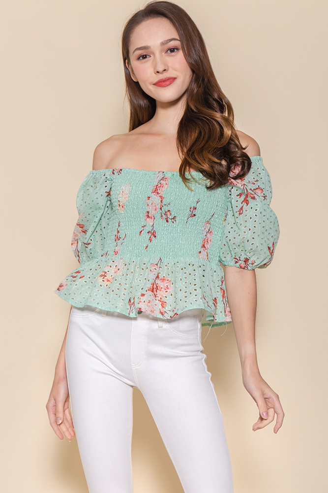 Miss Congeniality Eyelet Smock Top (Spring Green/Red Floral)