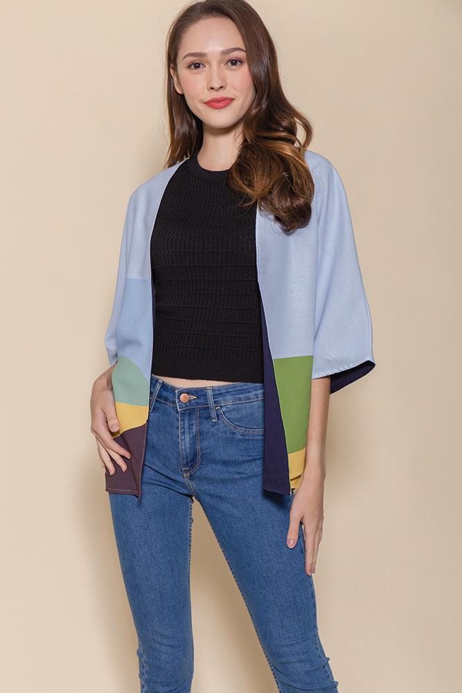 Panorama Reversible Kimono Jacket (Sky/Navy)