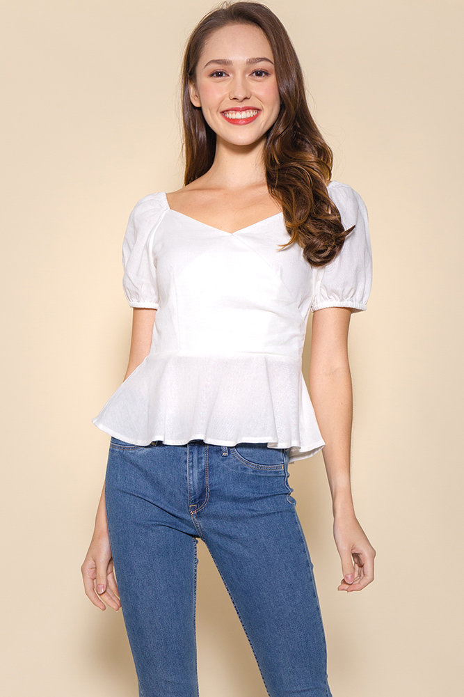 Princess of Wales Linen Top (White)