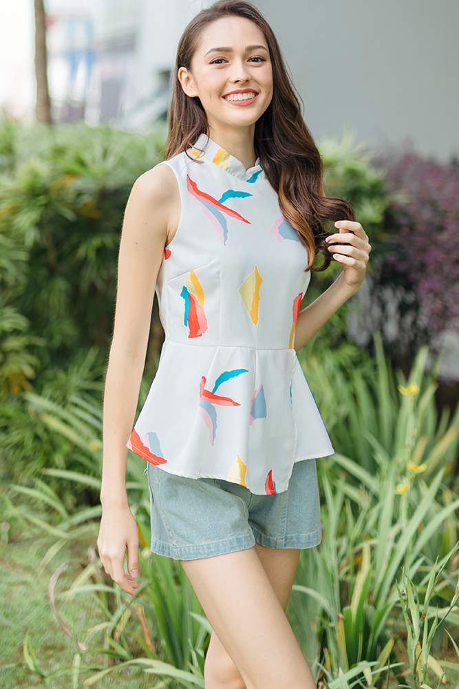 Solace Printed Peplum Top W Fabric Mask (White)