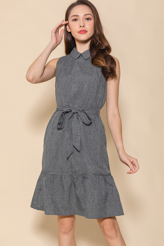 The Minimalist Flounce Shirt Dress (Porpoise Grey)