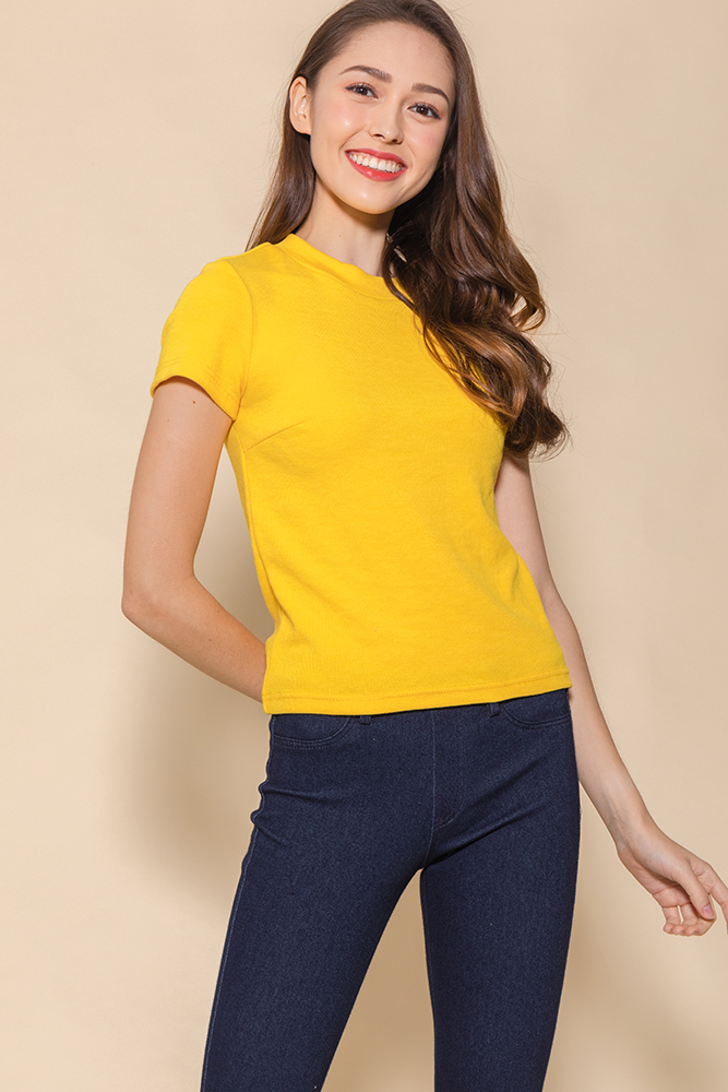 Bexley Basic Ribbed Top (Canary Yellow)