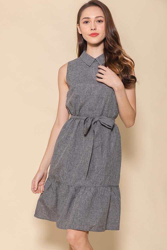The Minimalist Flounce Shirt Dress (Dolphin Grey)
