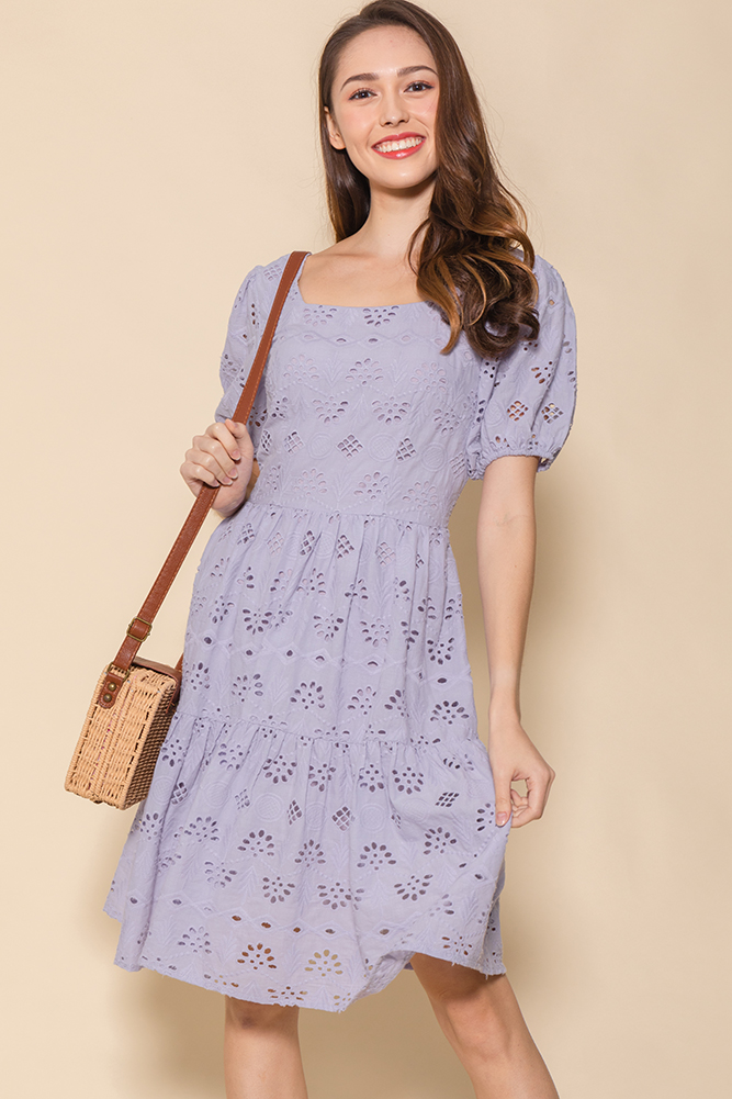Spring Medley Eyelet Swing Dress (Lilac Grey)