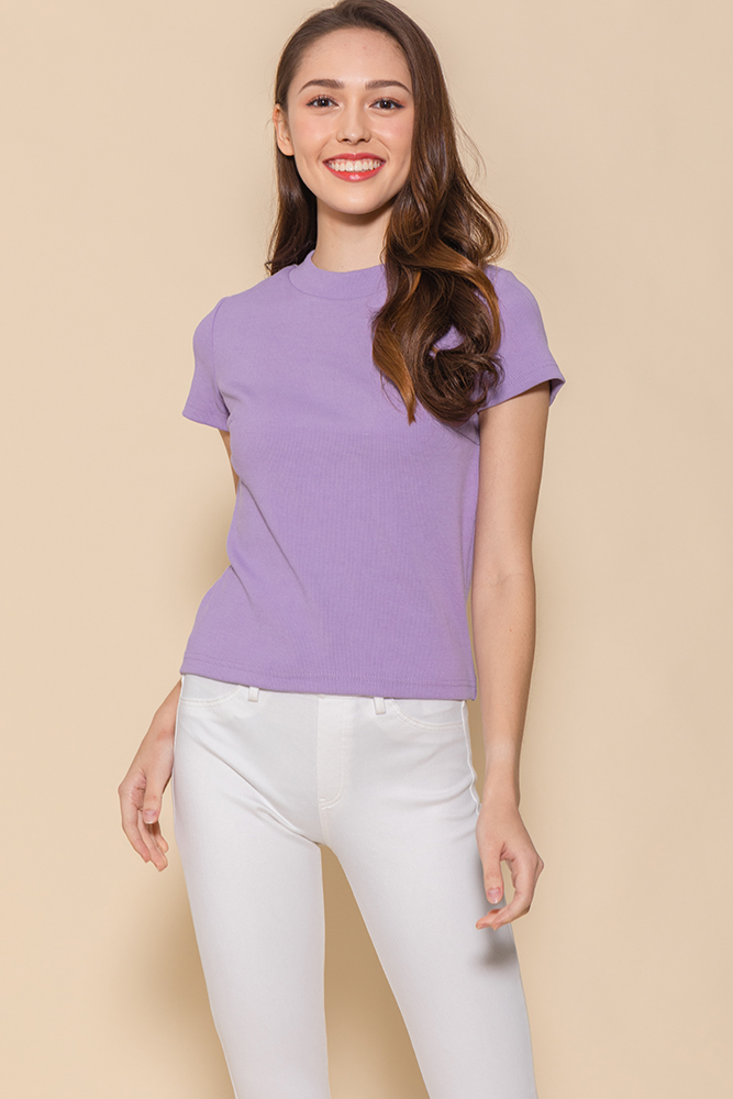 Bexley Basic Ribbed Top (Lavender)