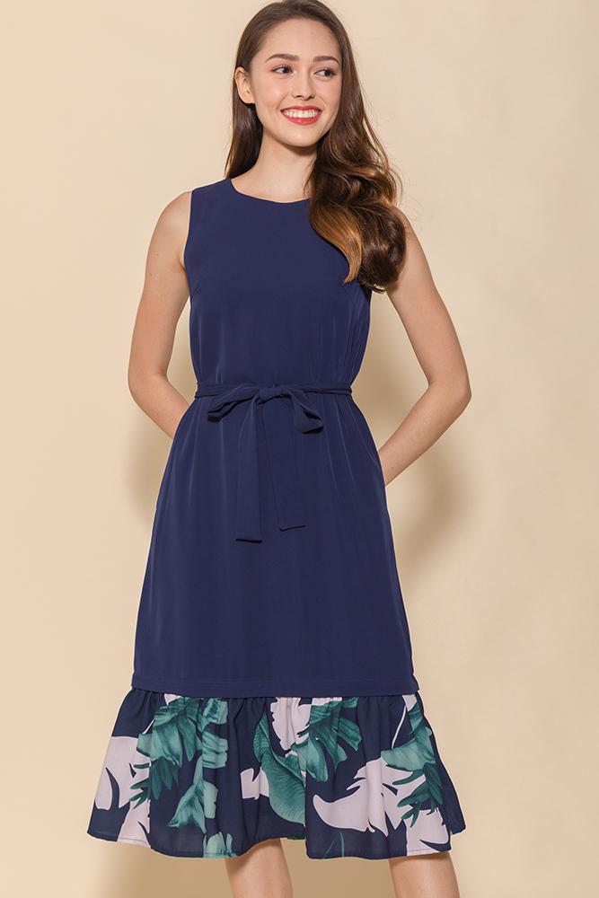 Astrid Midi Flounce Dress W Interchangeable Hems (Navy)