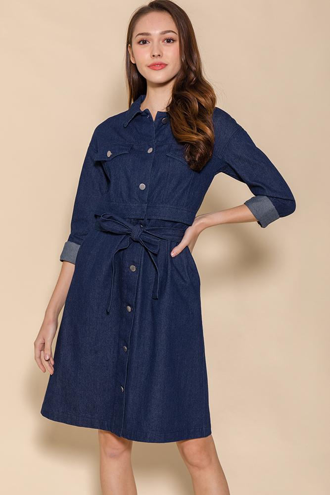 Penelope Convertible Denim Dress (Dark Wash)