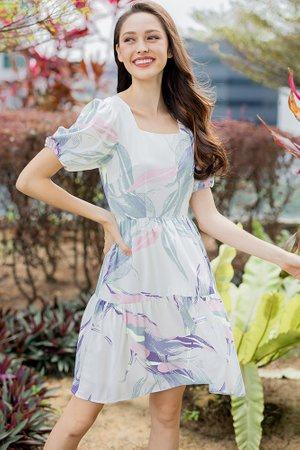 Nadia Tiered Swing Dress (White Abstract)