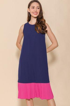 Alanis Pleated Hem Midi Dress (Navy/Fuchsia)