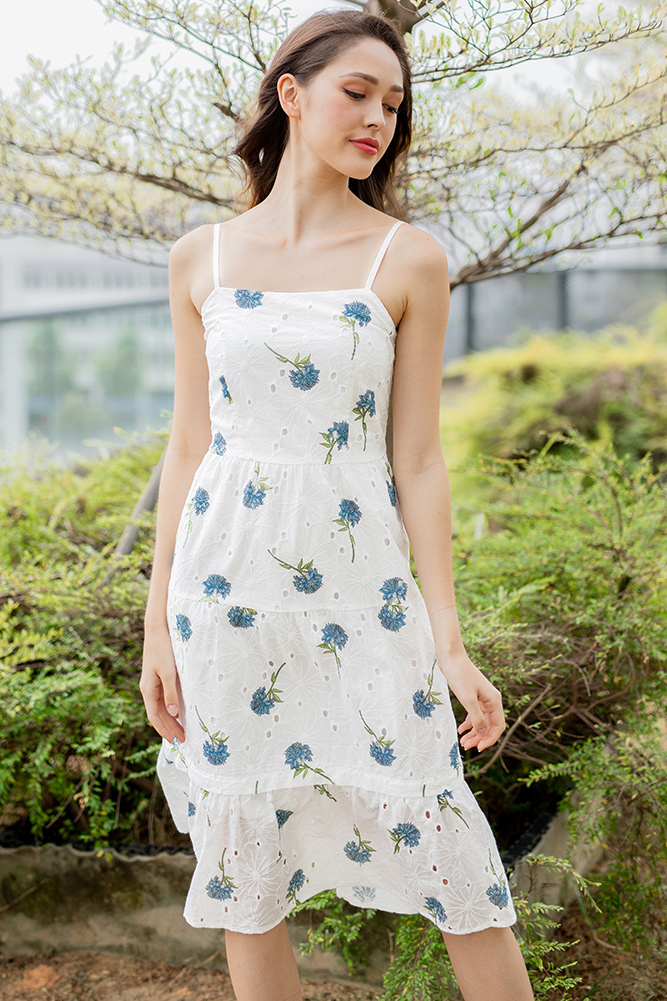 Fantasia Eyelet Midi Dress (Blue Hydrangea)